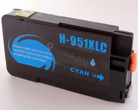 Compatible HP 951 XL CYAN HIGH CAPACITY Ink Cartridge (CHIPPED+INK LEVEL)