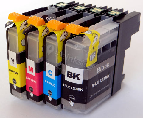 1 FULL SET Compatible BROTHER LC123(new chip) BLACK, CYAN, MAGENTA, YELLOW Ink Cartridges