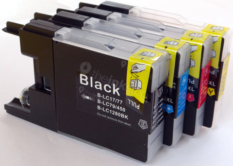 1 FULL SET Compatible High Capacity BROTHER LC1220/LC1240/LC1280XL - 4 Colour Ink Cartridge