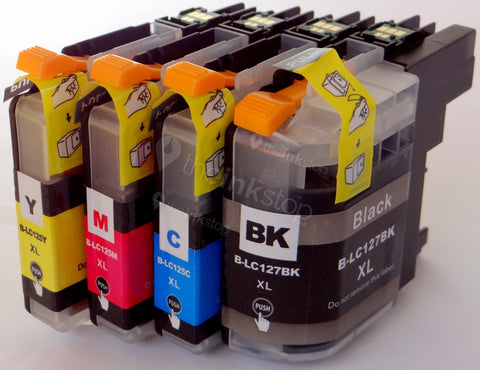 1 FULL SET Compatible BROTHER LC127/LC125 XL BLACK, CYAN, MAGENTA, YELLOW Ink Cartridges