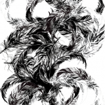 Black Feathers - Hand drawn ink feather design for screen print.