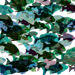 Fish Swarm- Hand painted digital repeat
