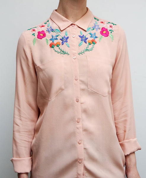 Floral Embroidered Blush Blouse