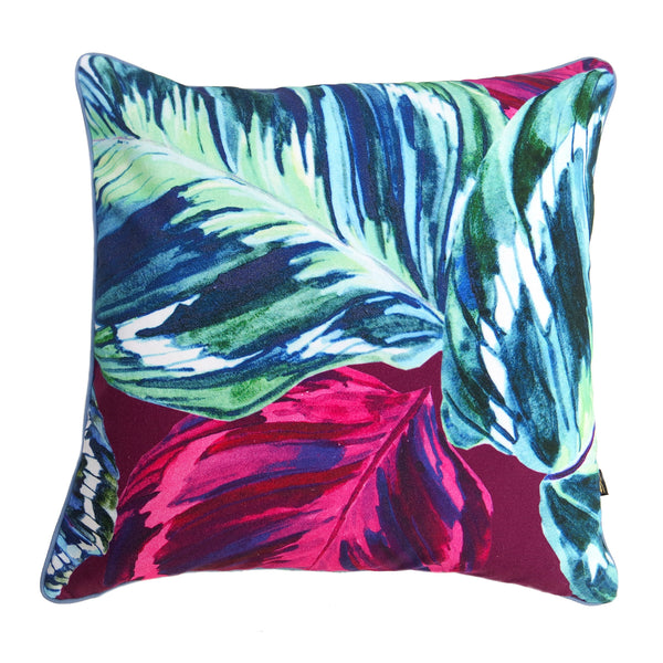 Feather Leaf Raspberry Cushion
