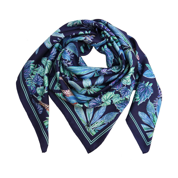 Leopard Jungle Navy Scarf