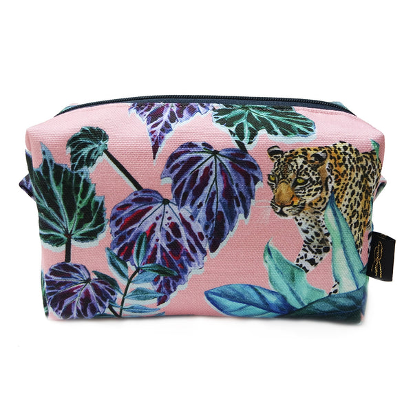 Leopard Jungle Pink Makeup Bag