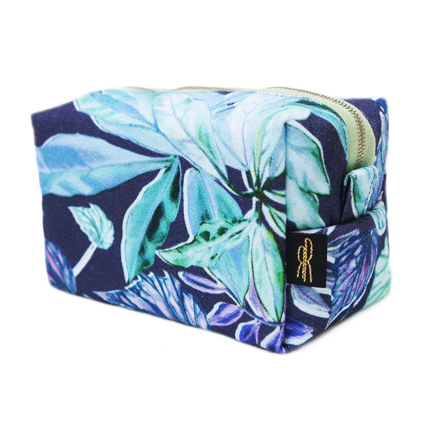 Leaf Jungle Navy Makeup Bag