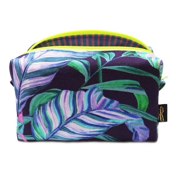 Tiger Vine Navy Neon Makeup Bag