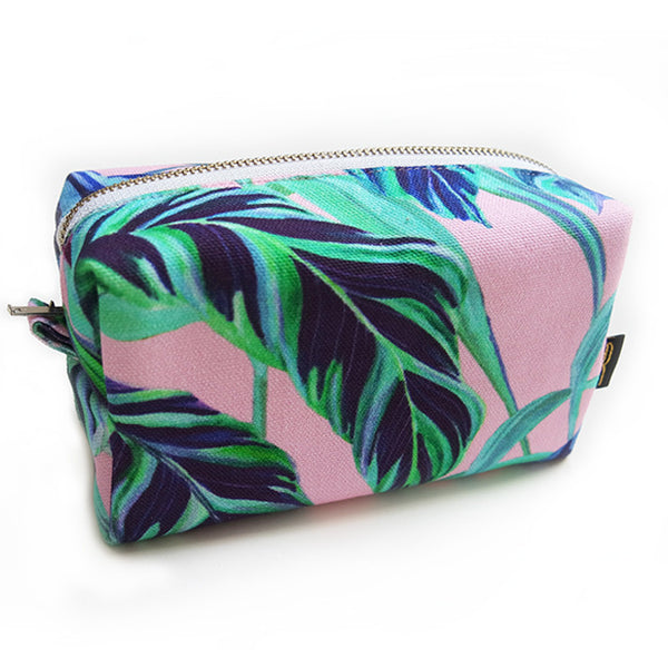 Tiger Vine Pink Makeup Bag