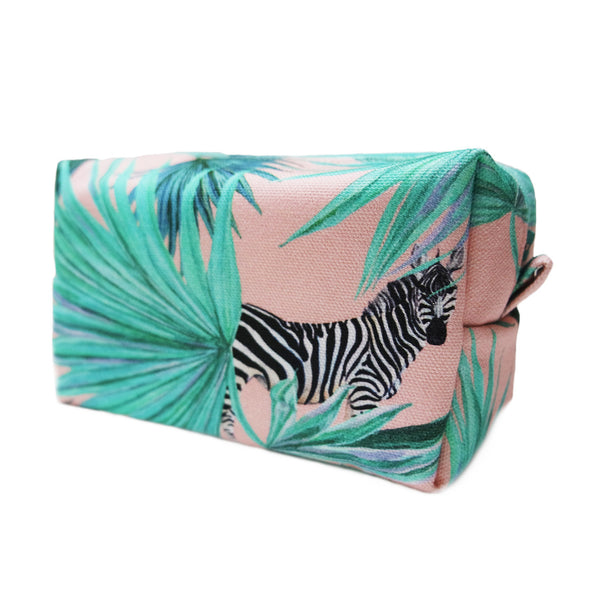 Zebra Fan Blush Makeup Bag