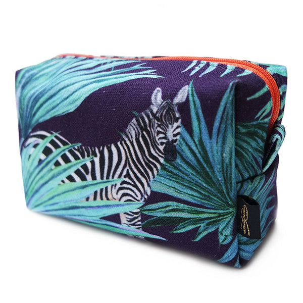 Zebra Fan Navy Orange Zip Makeup Bag