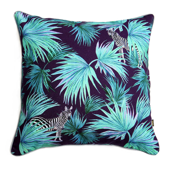 Zebra Fan Navy Cushion