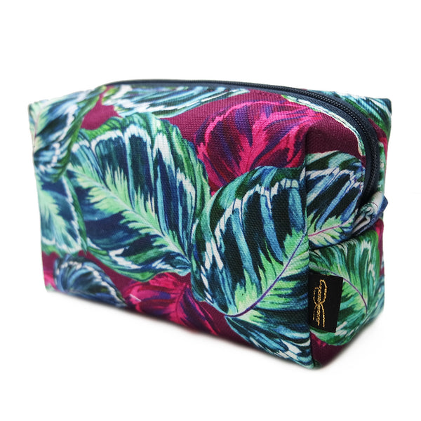 Feather Leaf Raspberry Makeup Bag