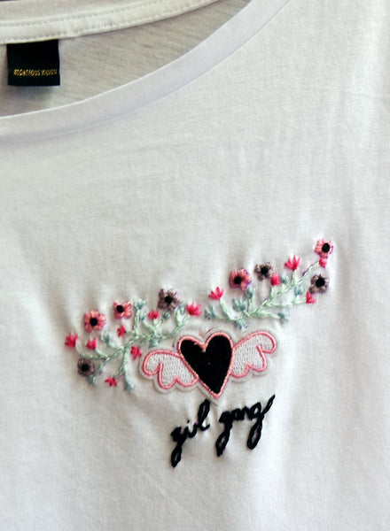 Hand Embroidered Girl Gang Floral T