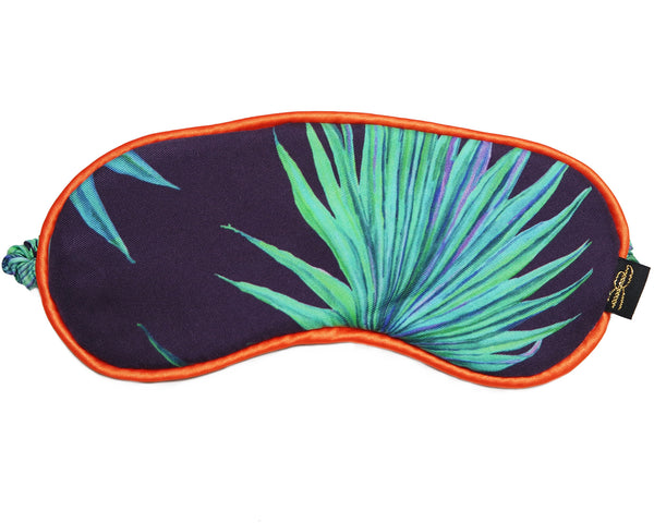 Zebra Fan Navy Silk Eye Mask