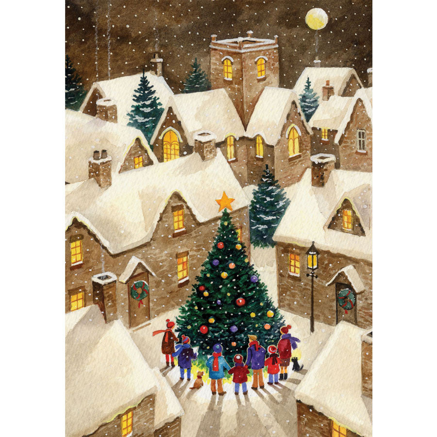 Village Christmas Tree card 10pk