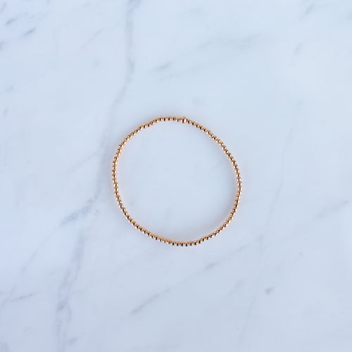 2mm Rose Gold Filled Beaded Bracelet