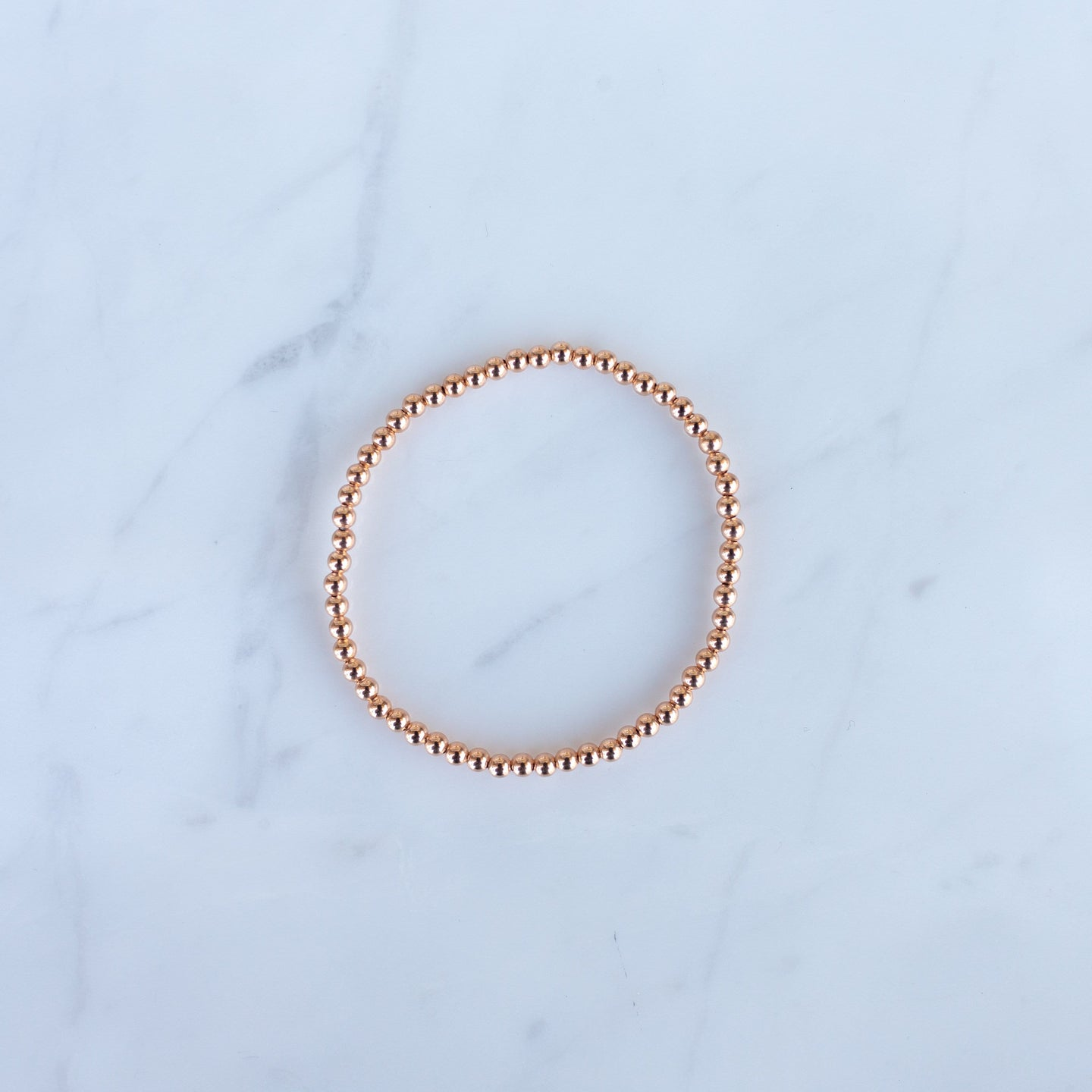 3mm Rose Gold Filled Beaded Bracelet