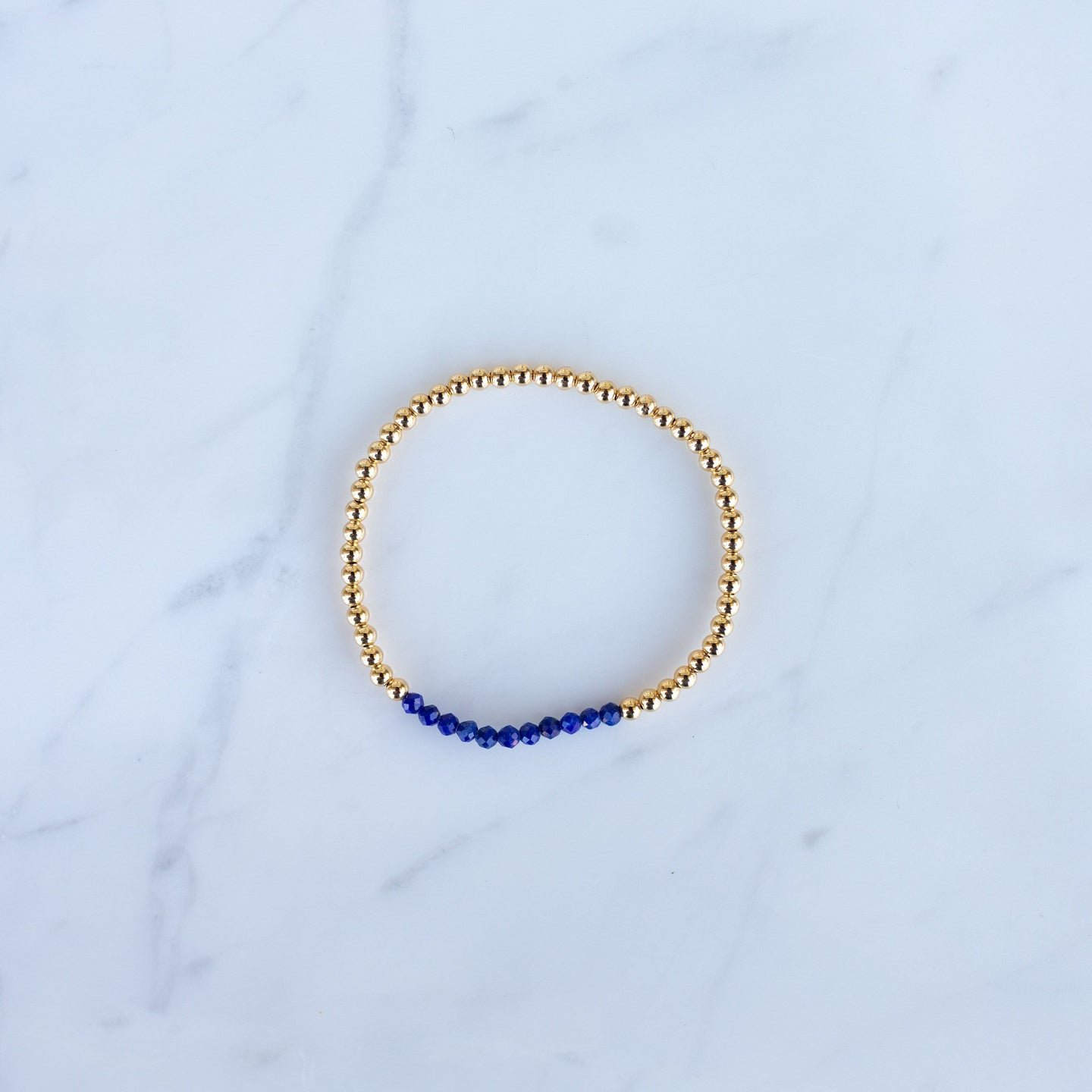 3mm Yellow Gold Filled & Blue Lapis Beaded Bracelet