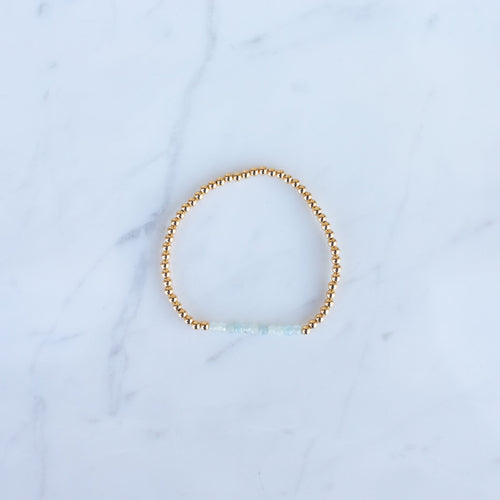 3mm Yellow Gold Filled & Opal Beaded Bracelet