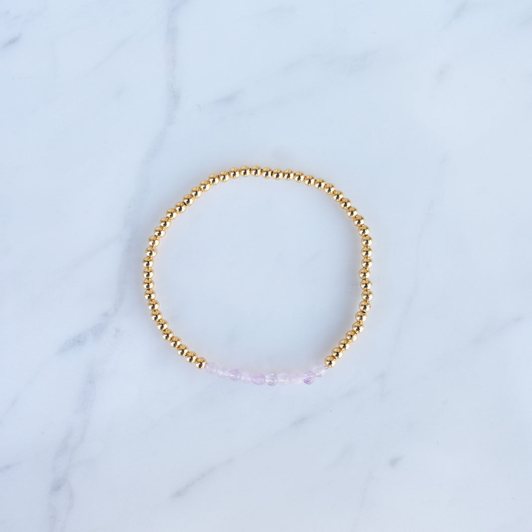 3mm Yellow Gold Filled & Pink Quartz Beaded Bracelet
