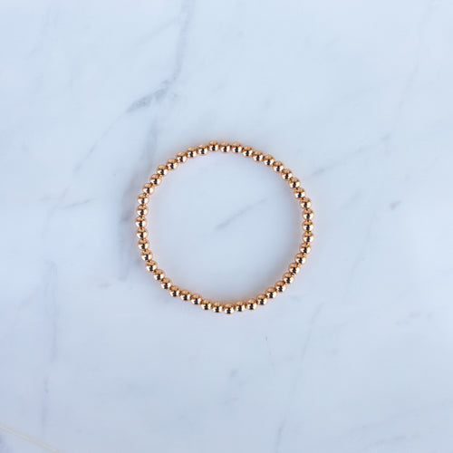 4mm Rose Gold Filled Beaded Bracelet