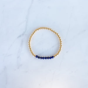 4mm Yellow Gold Filled & Blue Lapis Beaded Bracelet