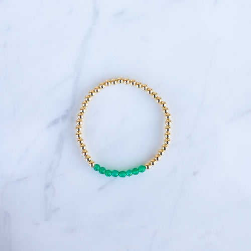 4mm Yellow Gold Filled & Green Onyx Beaded Bracelet
