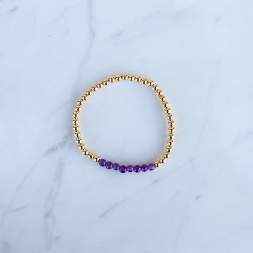 4mm Yellow Gold Filled & Purple Amethyst Beaded Bracelet
