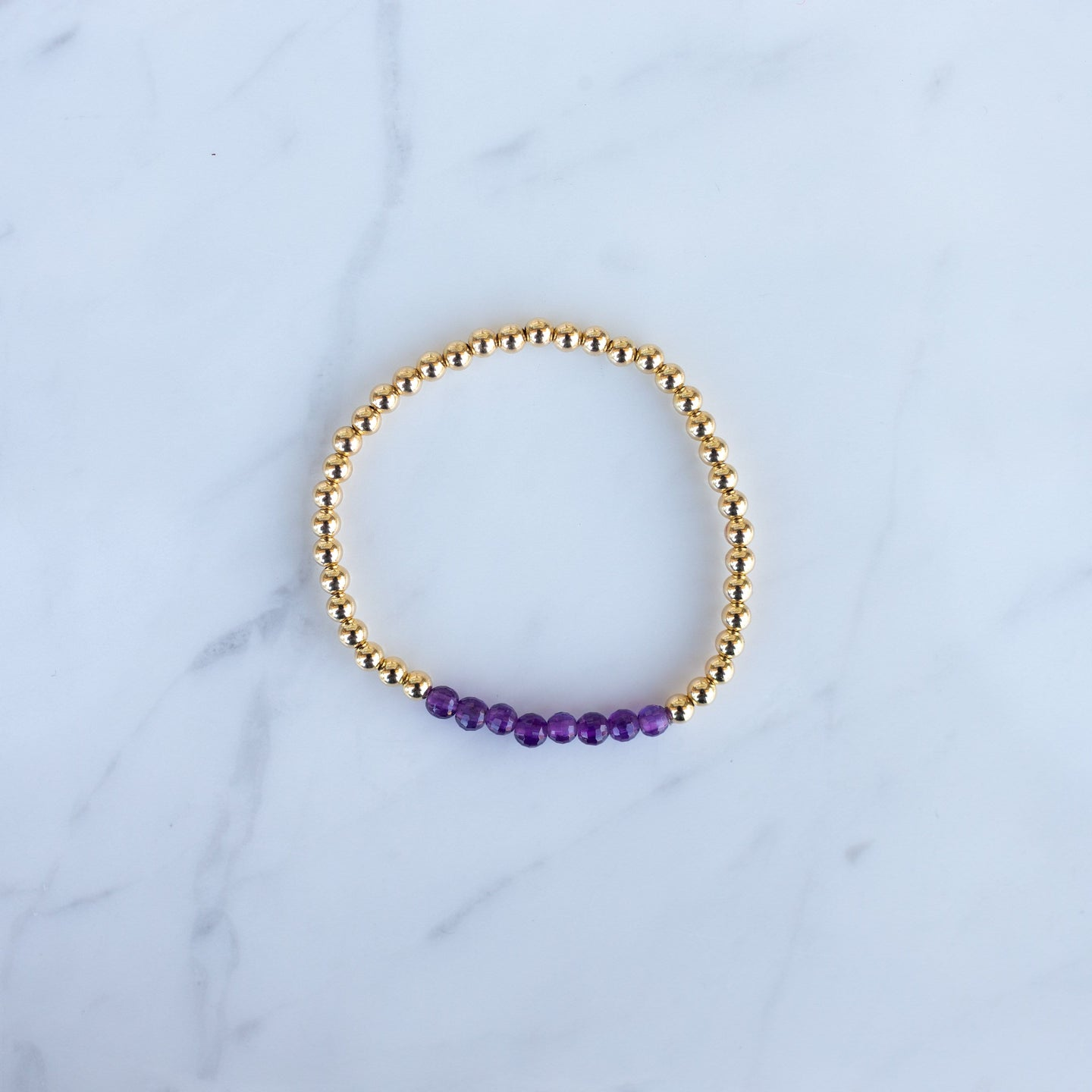 3mm Yellow Gold Filled & Purple Amethyst Beaded Bracelet