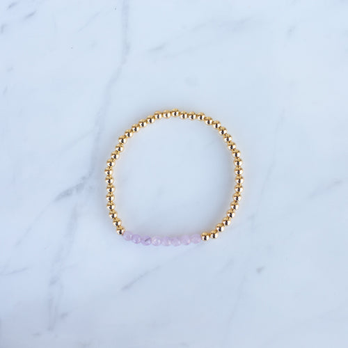 4mm Yellow Gold Filled & Pink Quartz Beaded Bracelet