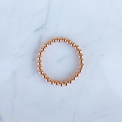 6mm Rose Gold Filled Beaded Bracelet