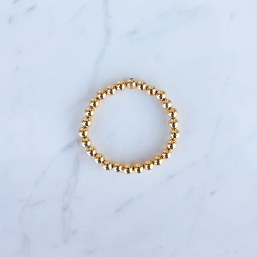 7mm Yellow Gold Filled Beaded Bracelet