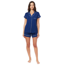 Load image into Gallery viewer, Marine Blue Pima Knit Cotton Pajama Short Set