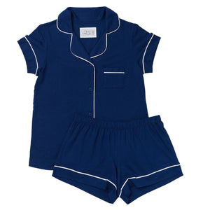 Marine Blue Pima Knit Cotton Pajama Short Set
