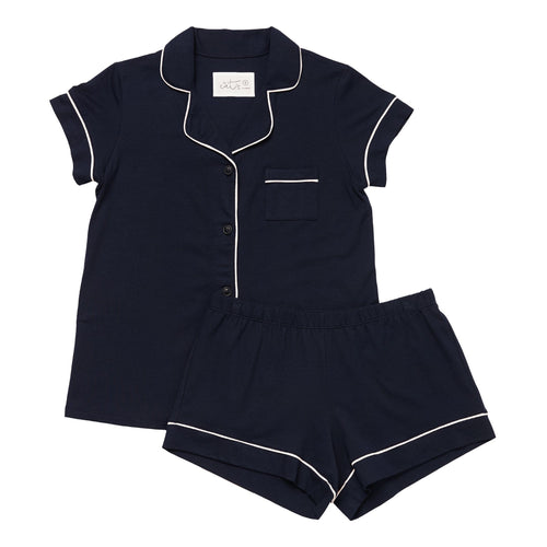 Midnight Pima Knit Cotton Pajama Short Set
