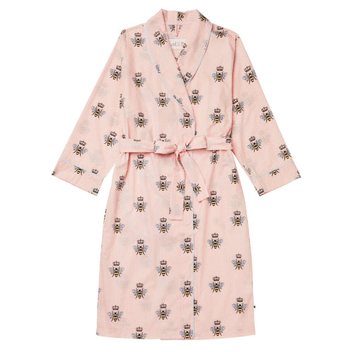 Queen Bee Luxe Pima Pink Shawl Collar Robe