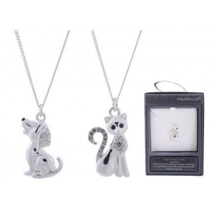 Equilibrium Cat and dog charm necklaces boxed
