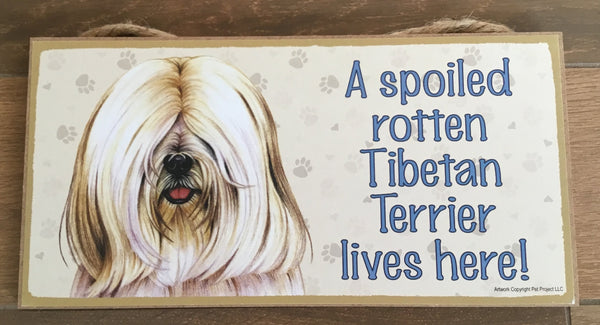 Sign and image - A spoiled rotten Tibetan Terrier lives here! ( Beige in colour)