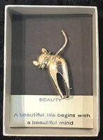 Cat Brooch - with saying - A beautiful life begins with a beautiful mind.