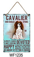 Cavalier King Charlies Spaniel Metal Dog breed signs.  Lovely bright colours signs with each breeds personality traits listed below. Size is 20cm x 27cm each sign.