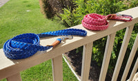 Blue and Pink flat Plait Buffalo leather Lead 160cm length created by Georgie Paws