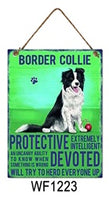 Border Collie Metal Dog breed signs.  Lovely bright colours signs with each breeds personality traits listed below. Size is 20cm x 27cm each sign.