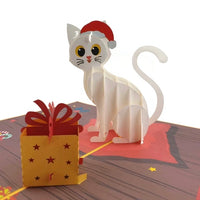 Christmas Cat - Beautifully created Pop Up cards created to to make any gift memorable. Each card is designed and meticulously handcrafted into 3d pop up cards for all occasions.