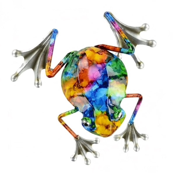 Metal frog beautiful colours red, green, blue ,yellow and orange. Dimension 7cm x 24cm x 24cm