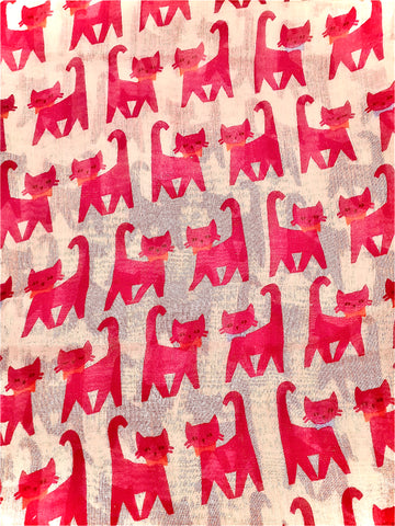 Scarf with White background and hot pink CATs. Beautifully made from  this elegant accessor is made from the finest materials such as fine cotton and /or blended yarns like linen, silk, viscose wool and others. Please handle with care in order to maintain its look.