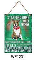 Staffordshire Bull Terrier Metal Dog breed signs.  Lovely bright colours signs with each breeds personality traits listed below. Size is 20cm x 27cm each sign.