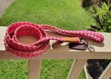 Pink Flat Plait Buffalo leather Lead 160cm length created by Georgie Paws