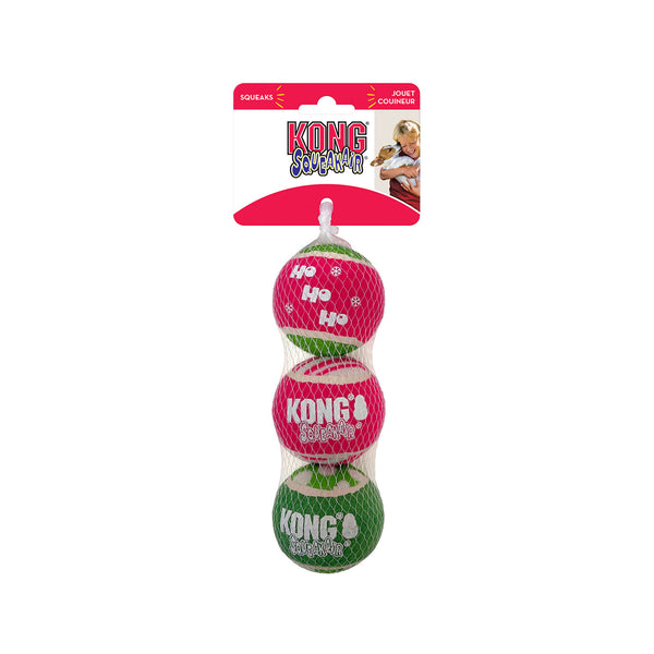 KONG Holiday AirDog Balls combines two dog favorites— a tennis ball and a squeaker—into one fabulous fetch toy that sparks natural instincts. KONG Tennis non-abrasive material is softer on teeth than regular tennis ball felt. The squeaker calls dogs to play and keeps them engaged while the dynamic bounce launches pups into fetching fun decked out in holiday colors and messages.