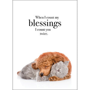Affirmation Card - When I count my blessings I count you twice.